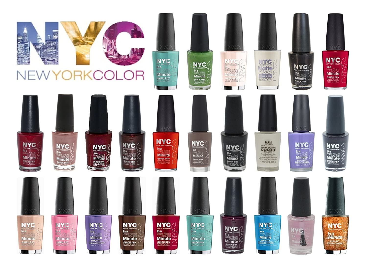 Amazon.com: Lot of NYC In A New York Minute Nail Polish Gift Set 10 ...