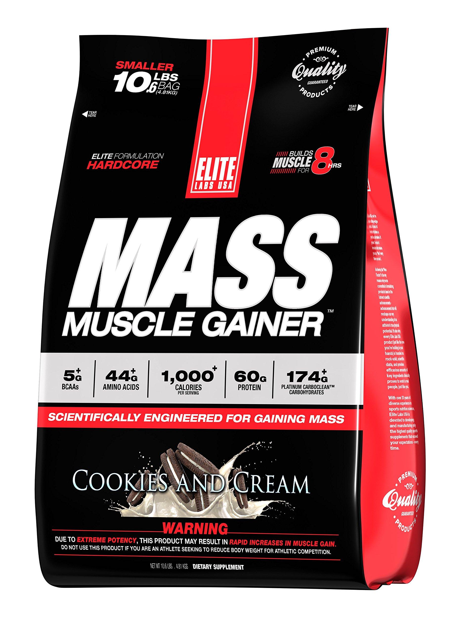 Elite Labs USA MASS MUSCLE GAINER, STRAWBERRY MILKSHAKE, 10.16