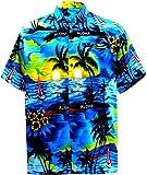 LA LEELA Shirt Casual Button Down Short Sleeve Beach Shirt Men Aloha Pocket 173