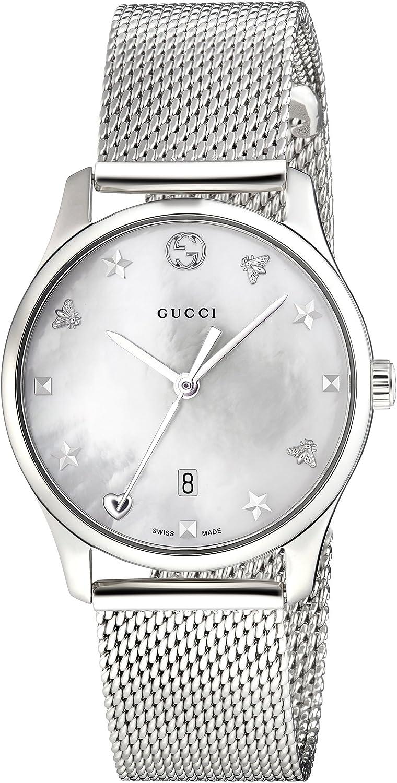 Gucci Reloj Análogo clásico para Mujer de Cuarzo con Correa en Acero Inoxidable YA126583