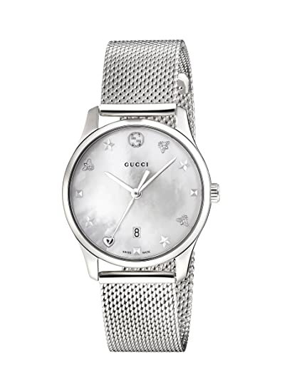 a0be41fce90 Gucci Womens Analogue Classic Quartz Watch with Stainless Steel Strap  YA126583  Amazon.co.uk  Watches