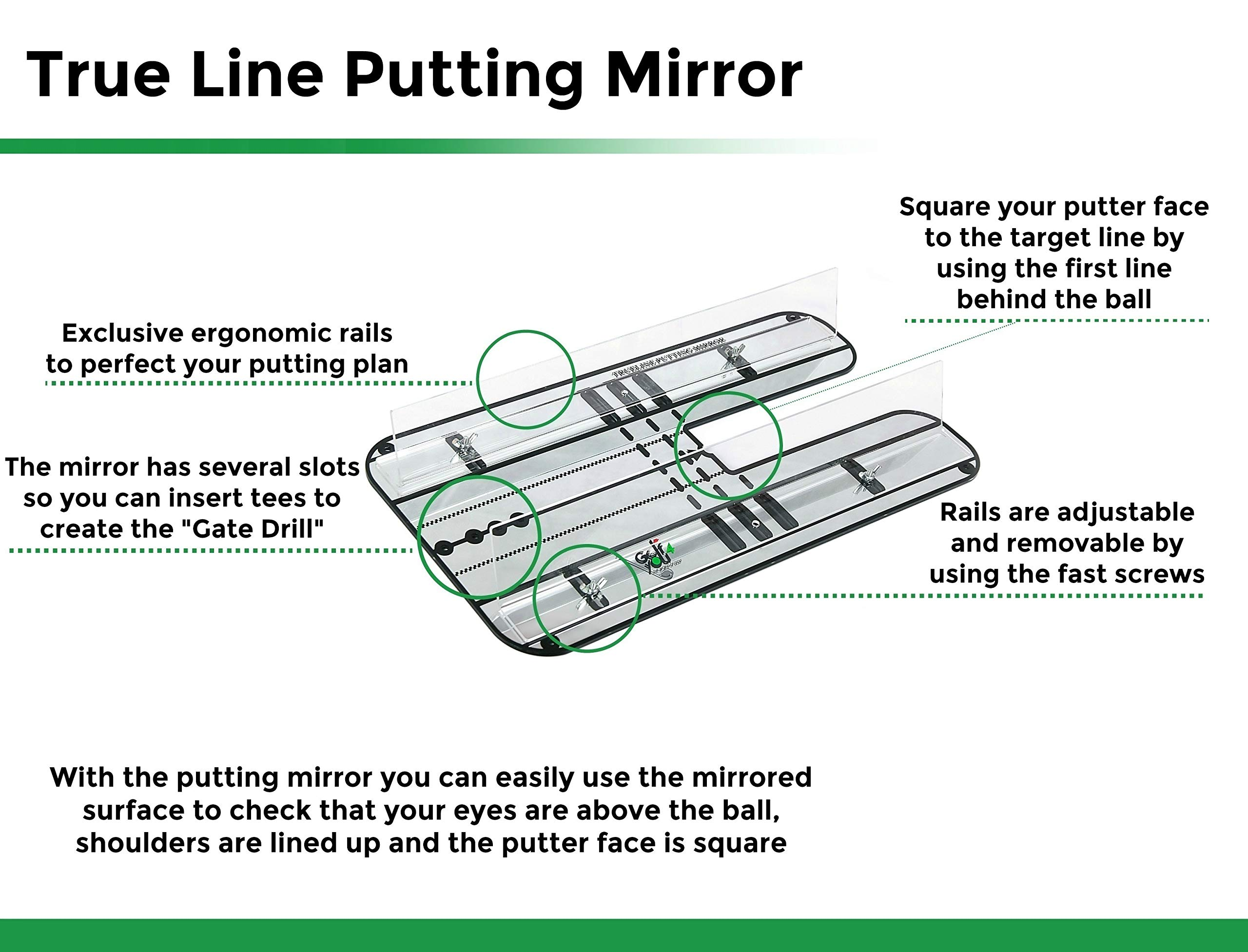 Golf Training Aid, Putting Set - XL Alignment Mirror Design with Our Exclusive Clear Adjustable Guide Rails ''True Line Putting Mirror'' - Leading Practice Aid for On-Line, Consistent Putting Stroke by GOLF4 YOU THE WORLD OF GOLF (Image #4)
