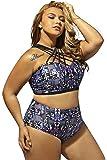 Lalagen Women's Plus Size Strappy High Waist Bikini Two Piece Swimsuit Tankini
