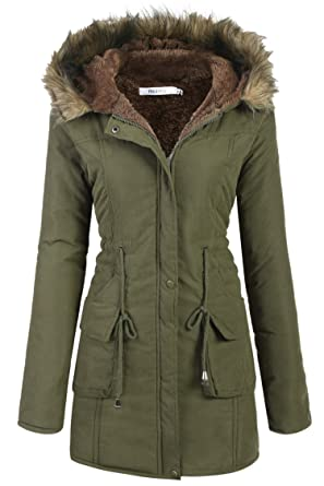 Amazon.com  Beyove Womens Military Hooded Warm Winter Faux Fur Lined ... 2467c03806