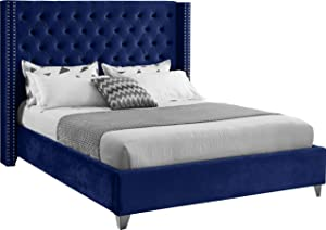 Meridian Furniture Aiden Collection Modern | Contemporary Velvet Upholstered Bed with Deep Button Tufting, Solid Wood Frame, and Custom Chrome Legs, Full, Navy