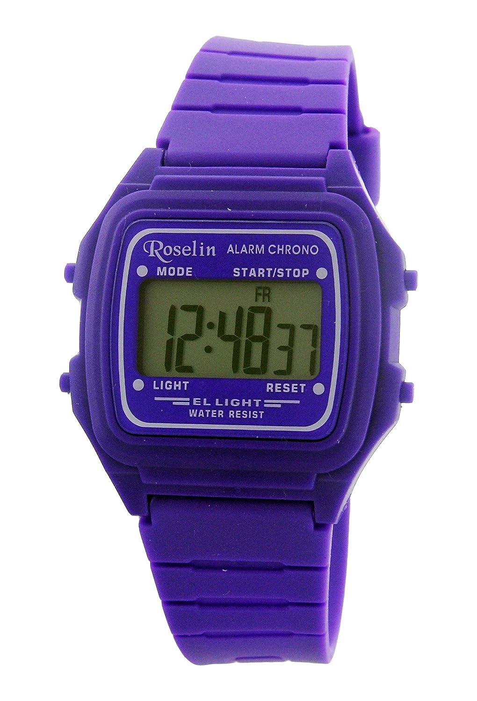Roselin digital morado, alarma, cronometro, calendario, 5 ATM: Amazon.es: Relojes