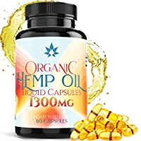 Hemp Oil Capsules - 1300mg Organic Hemp Extract for Pain Relief, Joint Pain, Muscle...