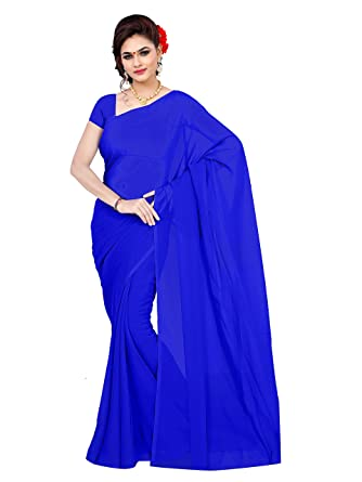 01f7691497 Sidhidata Textile Women's Plain Solid Pure Georgette saree With Unstitched  Blouse Piece (plain royal blue_royal blue_Free Size): Amazon.in: Clothing &  ...