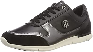 3070907141 Tommy Hilfiger Women's Camo Metallic Light Sneaker Low-Top (Black 990) 3.5  UK