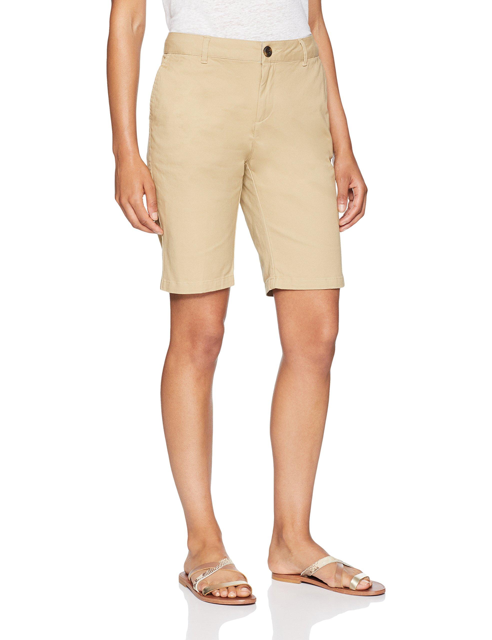Amazon Essentials Women's 10'' Inseam Solid Bermuda Short Shorts, Khaki, 4