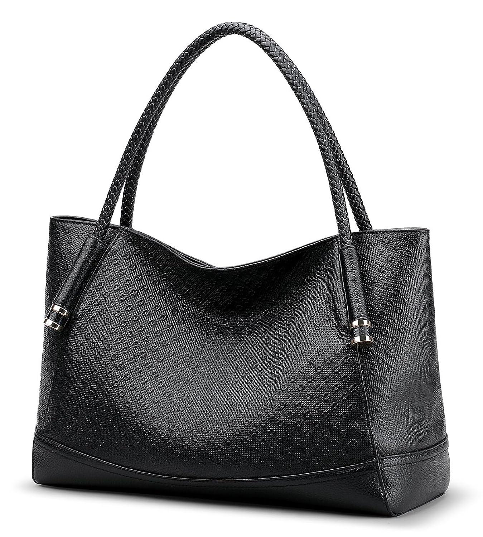 Coolcy Women Top Handle Satchel Handbag Genuine Leather Tote Shoulder Bags