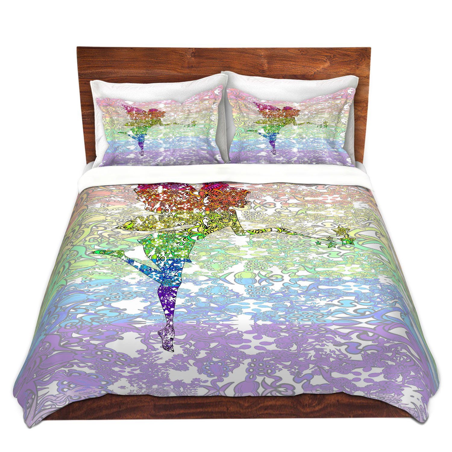 DiaNoche Designs Fairy Dance Rainbow Home Decor Cover, 2 Twin Duvet Only 68'' x 90''