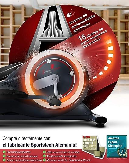 Sportstech CX625 Bicicleta elíptica - Marca de Calidad Alemana - Eventos en Directo & App Multijugador, 24 KG de Masa de Volante + 22 programas con HRC + Soporte para Tablet +