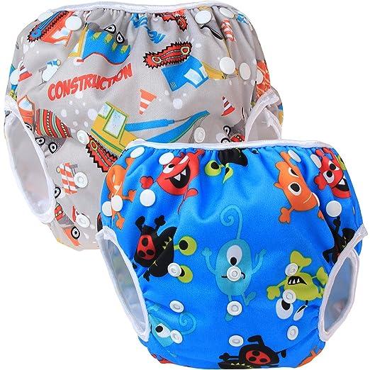 27 opinioni per Teamoy 2pcs Baby Nappy riutilizzabile pannolino da nuoto, Construction+ Happy