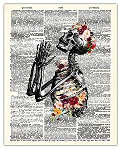 Flower Human Skeleton Dictionary Wall Art Print - Unique (8x10) Unframed Photo For Home, Office, Dorm & Bedroom Decor - Great Gift Idea Under $15 for Doctors, Nurses, Medical Students