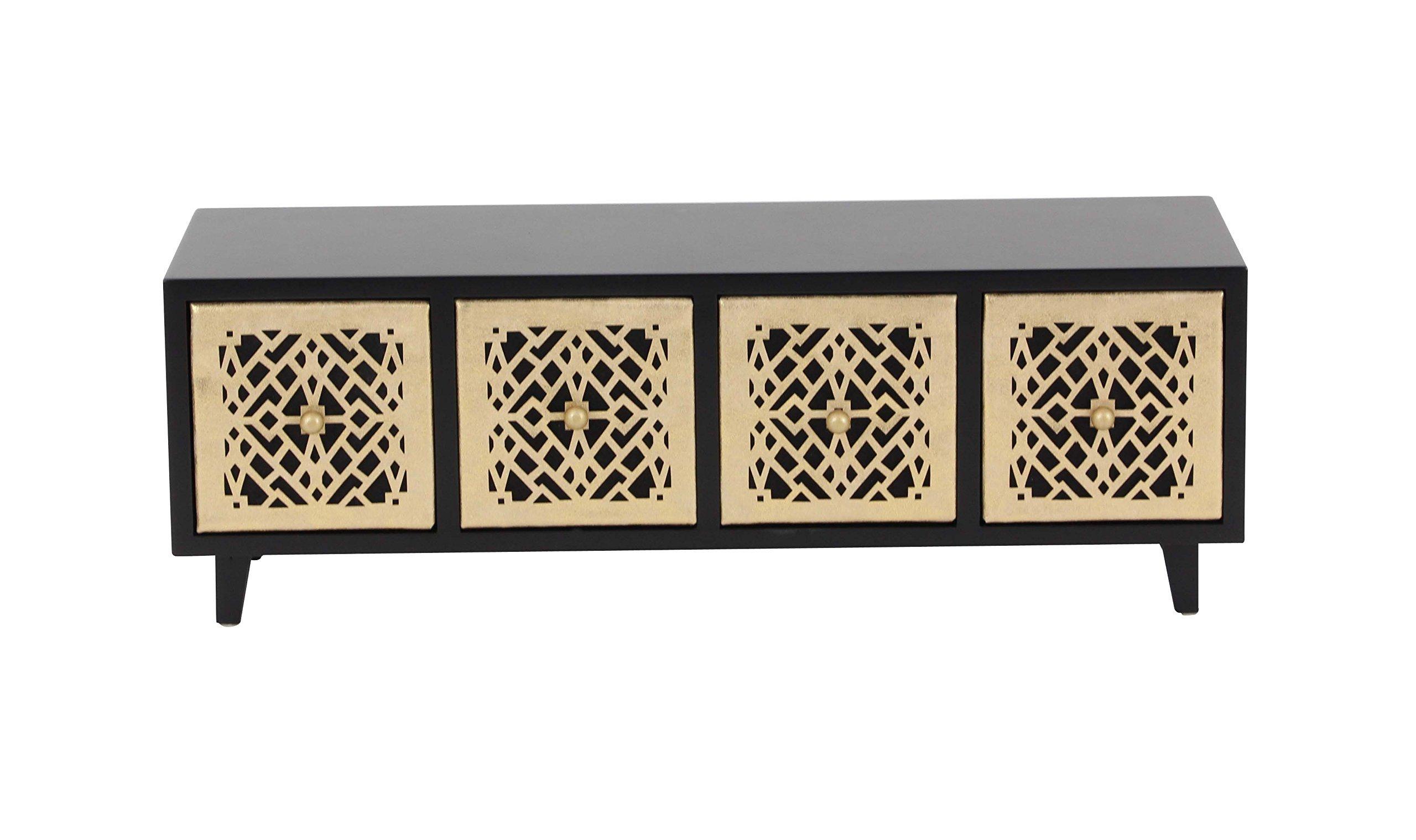 Deco 79 82186 Black Four-Drawer Rectangular Jewelry Chest, 6'' x 17'', Gold/Black