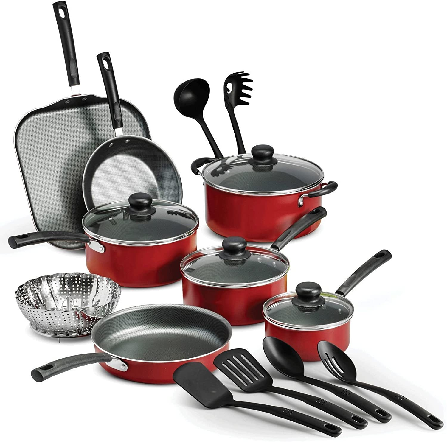 Amazon.com: LEGENDARY-YES 18 Piece Nonstick Pots & Pans Cookware Set  Kitchen Kitchenware Cooking NEW (RED): Kitchen & Dining
