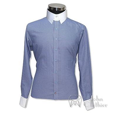 bce9a22e78854 WhitePilotShirts Tab Collar Mens Bankers Shirt Blue Checks 100 ...