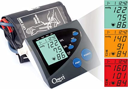 Ozeri CardioTech Premium Series BP4M Digital Arm Blood Pressure Monitor with Hypertension Color Alert Technology by