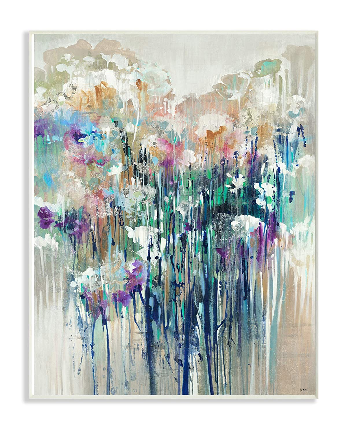 The Stupell Home Decor Dripping Blue and Purple with Soft Neutrals Abstract Stretched Canvas Wall Art Multi-Color 24 x 30