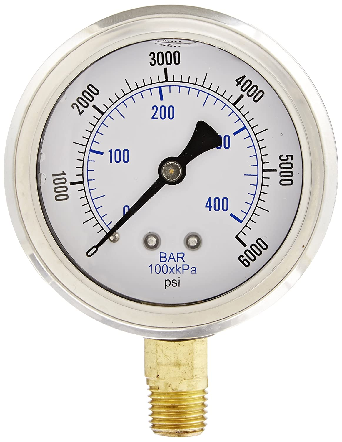 PIC Gauge PRO 201L 254S Glycerin Filled Industrial Bottom Mount Pressure Gauge with Stainless Steel Case Brass Internals Plastic Lens 2 1 2 Dial Size 1 4 Male NPT 0 6000 psi