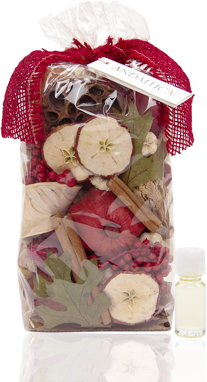 ANDALUCA Apple Cider Cinnamon Scented Potpourri | Made in California | Large 20 oz Bag + Fragrance Vial | Scents of Cinnamon, Apple, Orange Zest