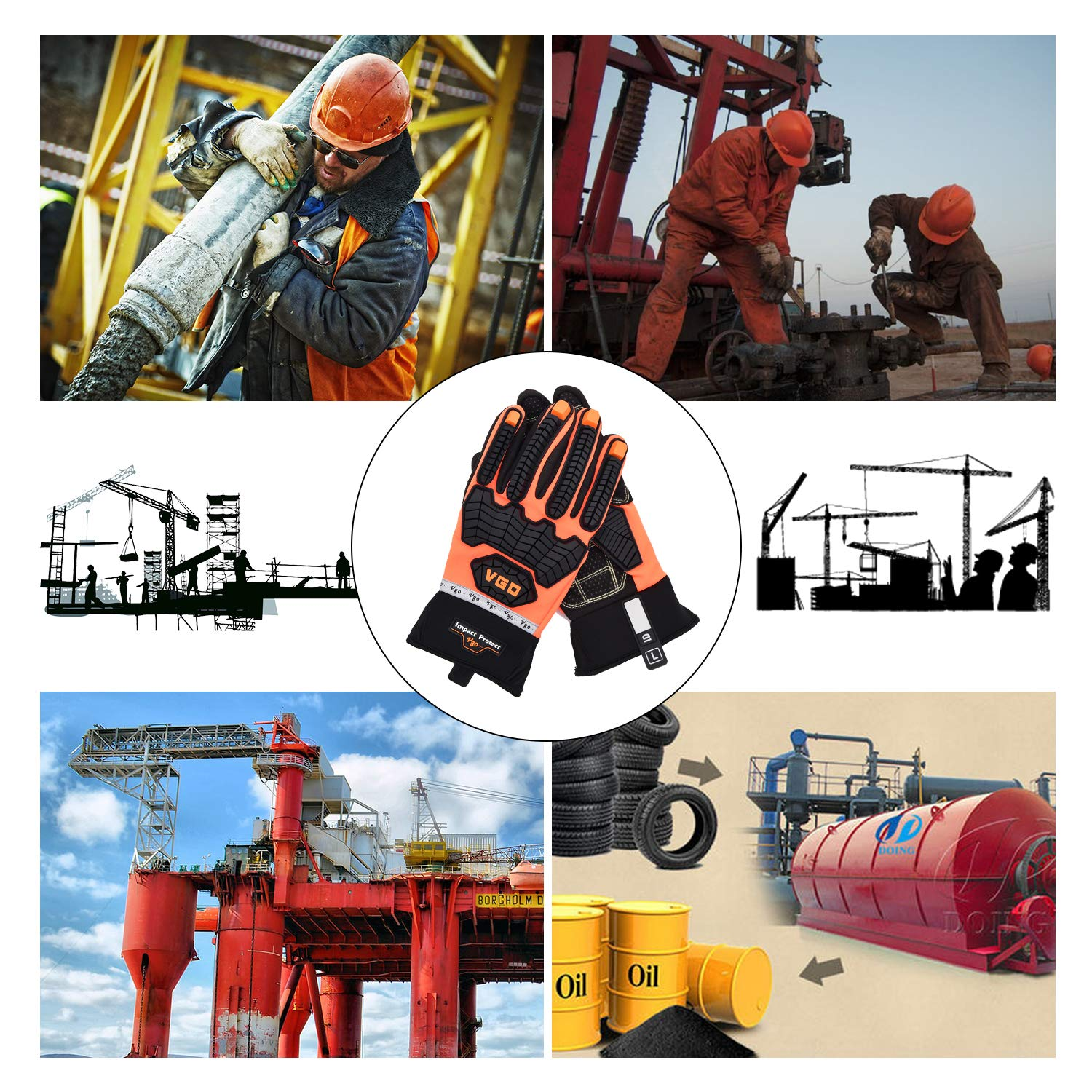 Size L, Orange, SL9697 Vgo OffShore Anti Vibration Oil-proof Impact protection Water-Repellent Safety Synthetic Leather Work Glove