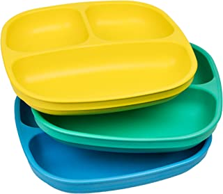 product image for Re-Play Made in USA 3pk Divided Plates with Deep Sides for Easy Baby, Toddler, Child Feeding - Yellow, Aqua, Sky Blue (Surf)