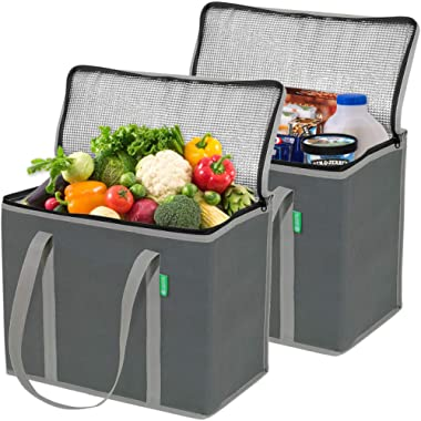 XL Insulated Reusable Grocery Bag Set (2 Pack - Gray). Durable, Premium Quality Cooler Bags with Solid Bottom and Sturdy Zipper. Insulated Bag Totes for Hot or Cold Food Delivery, Groceries, Shopping