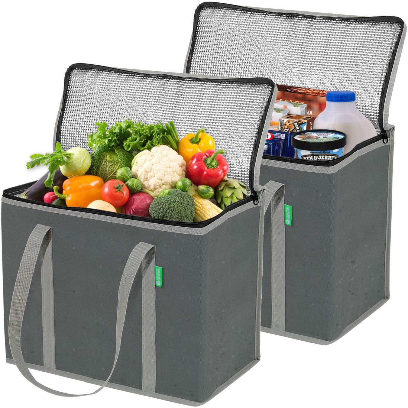 Insulated Reusable Grocery Bags (Upgraded), 2-Pack Gray, X-Large, Premium Quality Cooler Bag with Long Handles and Zipper Top. Insulated Bag for Warm or Cold Food, Freezer Items, Shopping, Delivery