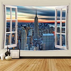 BOOPBEEP Bedroom Tapestry Wall Hanging, New York City Windows 3D Tapestries with Soft/ No-fading/ Lightweight/ HD Prints/ Color Vibrant Use for Dorm Room, Livingroom Decor (90x60IN, New York )
