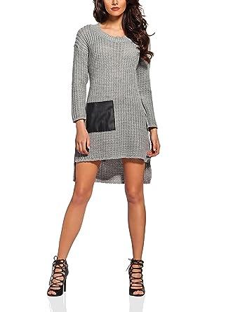 ae12edbefd8 FLIKEFASHION-LEMONIADE Pullover mit Ökoledertaschen. Farbe  Beige Kleid  Schwarz Kleid Hellgrau Kleid Weiß. Größe  One Size.  Amazon.de  Bekleidung