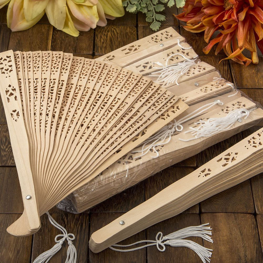 150 Intricately Carved Sandalwood Fan Favors by Fashioncraft