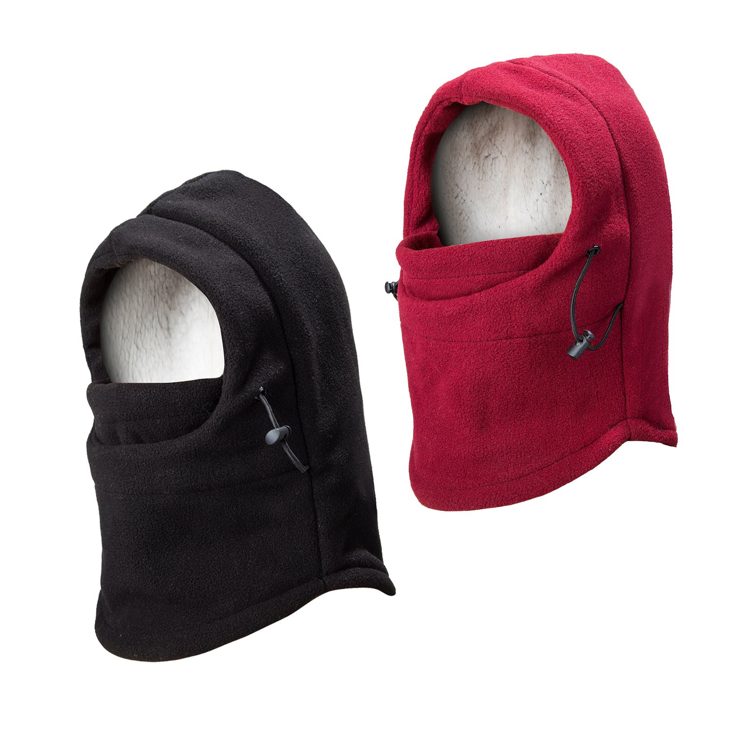 REDESS Kids Winter Windproof Hat, Unisex Children Heavyweight Balaclava, Ski Mask With Thick Warm Fleece Face Cover For Kids Pack Of 2 Black Wine Red by