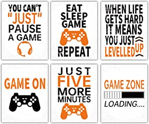 Video Game Canvas Printing Wall Art Funny Gaming Picture Poster Inspirational Quote Poster for Kids Boy Bedroom Playroom Teen Dorm Home Decor,6 pcs,No Frame