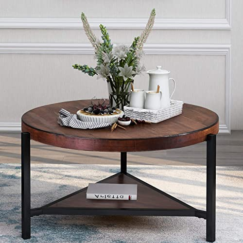 P PURLOVE Round Coffee Table Rustic Style Wood Coffee Table 2 Tier Coffee Table