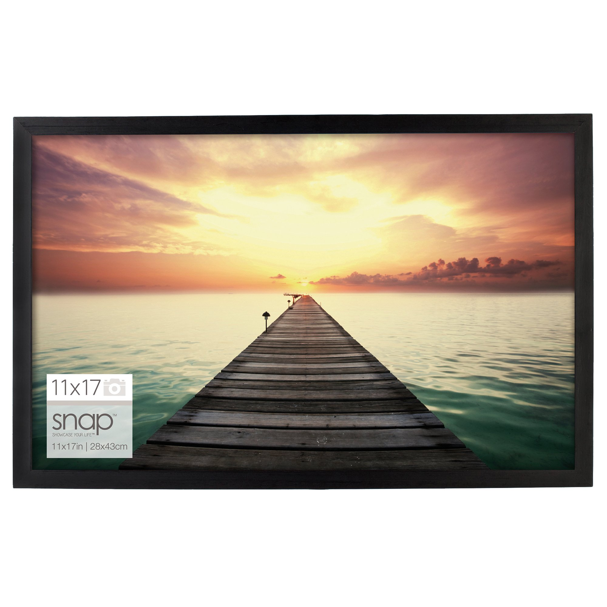 Snap 11 by 17 Inch Black Wood Photo Frame