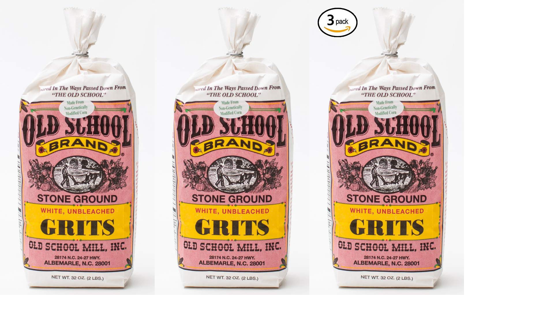 Old School Stone Ground White Corn Grits Non-GMO 32 ounces per bag (Pack of 3)