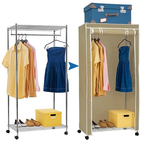 Artmoon Buffalo | Schwerlast Kleiderschrank mit 2 Ablagen und Hängestangen | Stoffschrank auf Rollen | Einfache Montage | 20