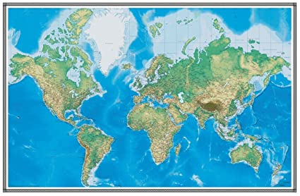 Amazon 76x120 world geophysical wall map wallpaper mural 76x120 world geophysical wall map wallpaper mural gumiabroncs Choice Image