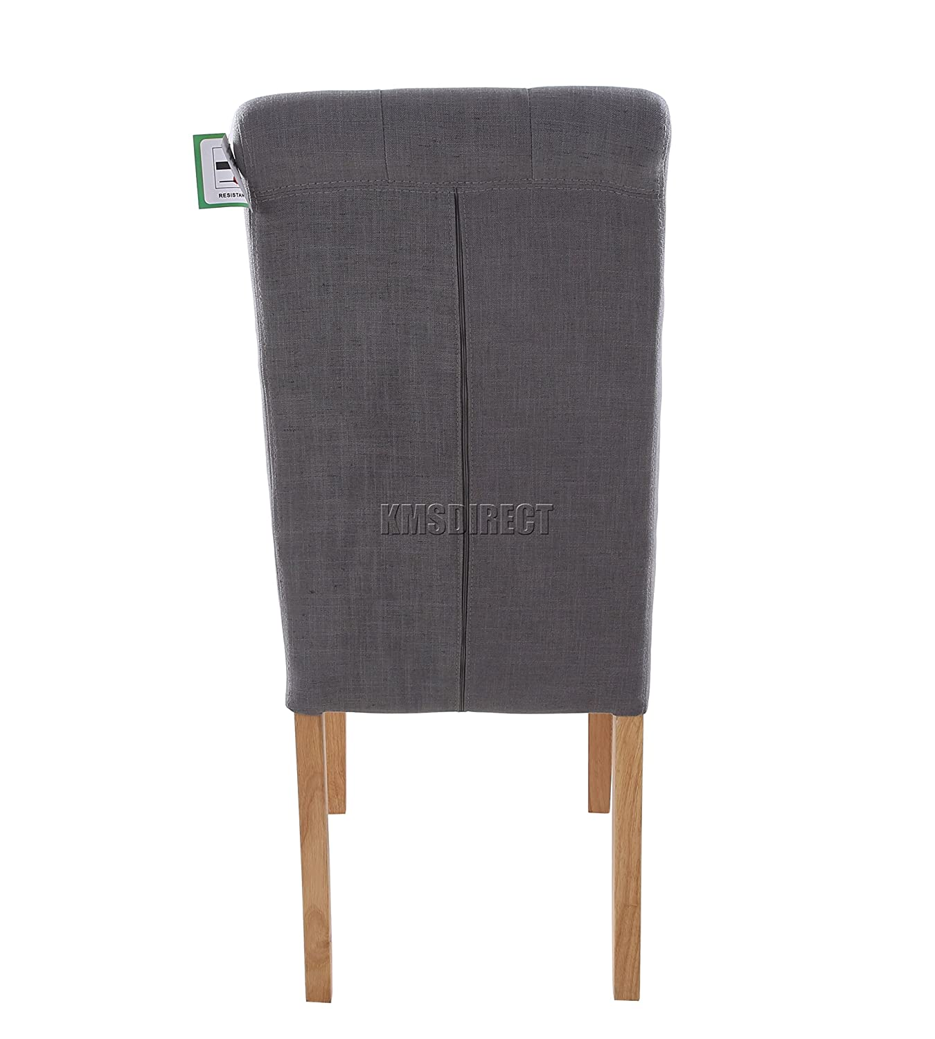 foxhunter furniture set of  premium grey linen fabric dining  - foxhunter furniture set of  premium grey linen fabric dining chairs rolltop scroll high back with solid wood legs seat contemporary modern lookdcf