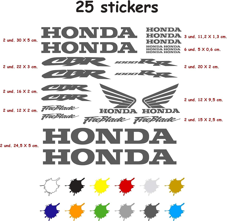 Kit Pegatina Adhesivo Vinilo 7 años Troquelado Compatible con Honda CBR 1000 RR Contiene 25 Pegatinas (Gris Oscuro)