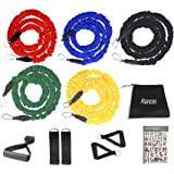 12 Pieces Resistance Bands Set, Upgraded Workout Bands with Handles Protective Nylon Sleeves, Include Door Anchor, Ankle…