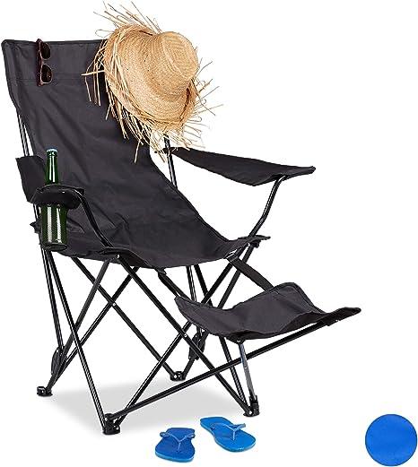 Relaxdays Silla Camping Plegable con Reposapiés y Soporte Bebidas, Acero y Poliéster, Negro, 96 x 86,5 x 120 cm