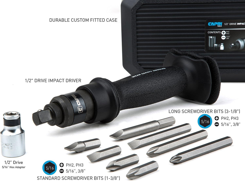 Capri Tools Premium Impact Driver Set for Brake Caliper Manual Reversible