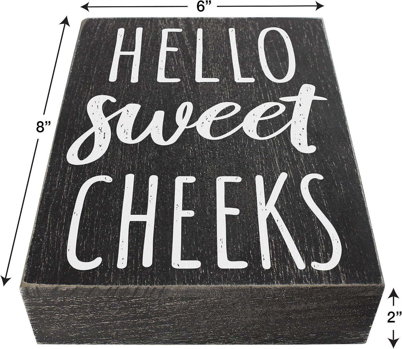 Hello Sweet Cheeks Wood Sign Farmhouse Bathroom Decorations 6x8 ...