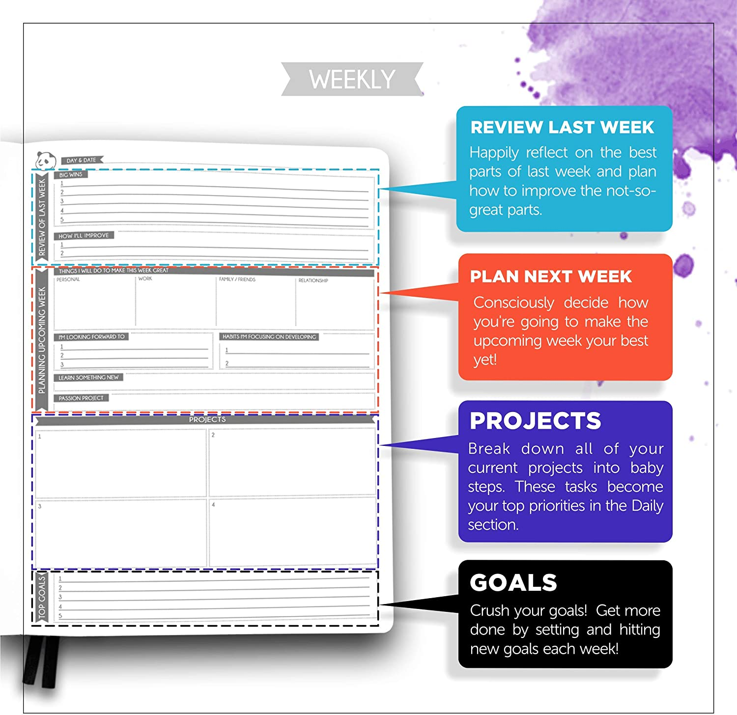 Guaranteed to Get You Organized Cyan Gratitude /& Goals Journal Panda Planner Pro 8.5 x 11 Softcover Best Daily Planner for Happiness /& Productivity Undated Day