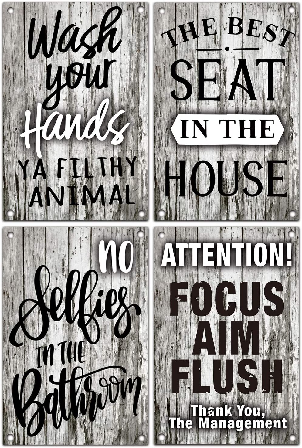 vizuzi Funny Bathroom Quote Vintage Farmhouse Metal Tin Bathroom Humor Signs, Decor for Home, Restaurant, or Business, Pack of 4