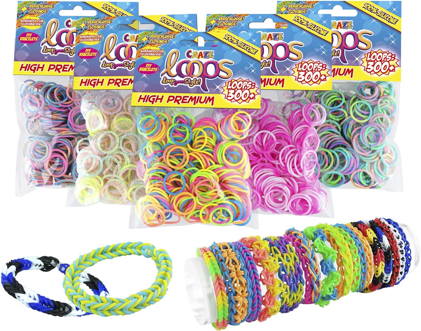 Craze 51147 - Juego de 300 anillos de silicona de colores prémium para pulsera, bandas de silicona, goma Mega US-Trend 51147, multicolor , color/modelo surtido