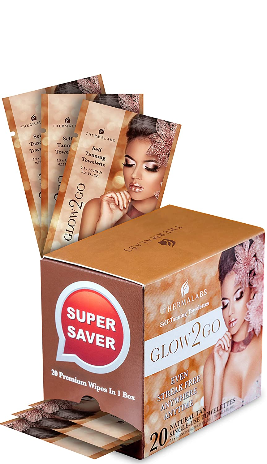 Original Self Tan Towelettes, Sunless Tanning Towels XL 20 Pack for Quick Sun Glow On the Go! Fair to Medium Half Body Self-Tanning Wipes. Use Tanner Towelette for Bronzing Face Too! Self-Tanner Towel Thermalabs TRML-G2G